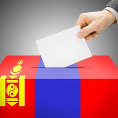 Ballot box painted into national flag - Mongolia