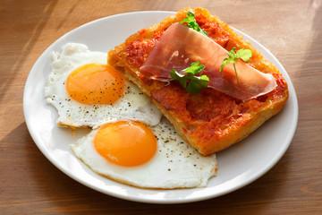 Closeup of Bruschetta with eggs
