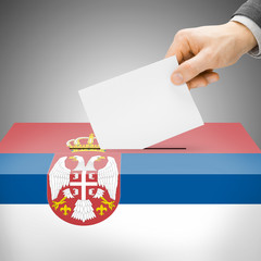 Ballot box painted into national flag - Serbia