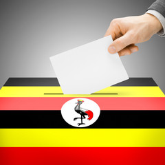Ballot box painted into national flag - Uganda