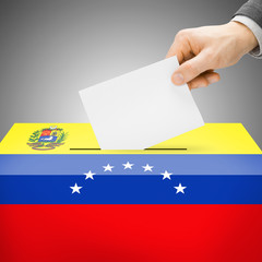 Ballot box painted into national flag - Venezuela