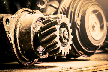 Part of old car engine in vintage style