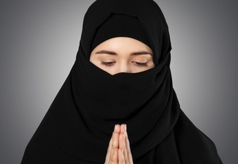 Hijab, closeup, isolated.