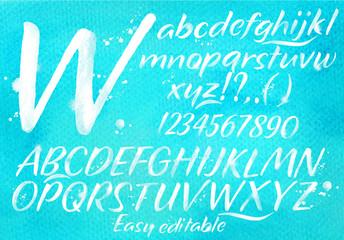 Modern alphabet blue background.