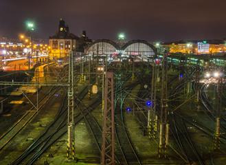 prague main station during night