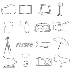 photographic and camera simple outline icons eps10