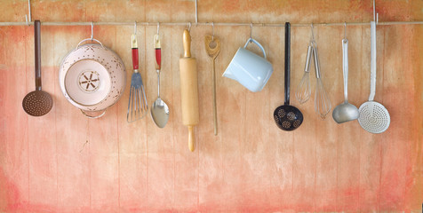 vintage rustic cooking tools, cooking concept, free copy space