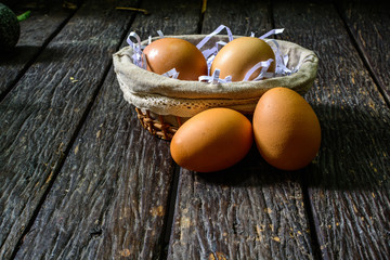 Group of chicken eggs