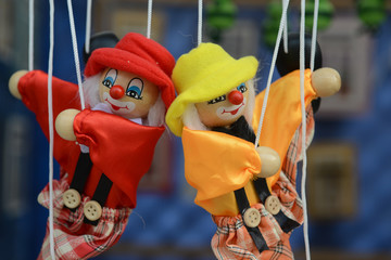 Marionette - puppet: Dolls on rope swing