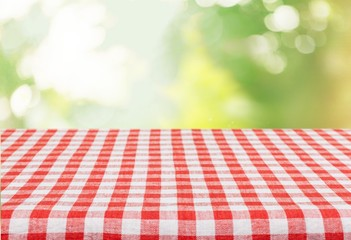 Picnic. Empty table for Your photomontage or product display. Wall mural