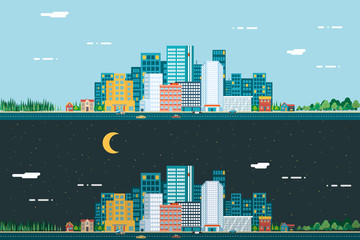 Day and night Urban Landscape City Real Estate Summer Background