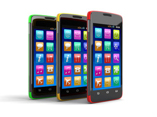 Touchscreen smartphones (clipping path included)
