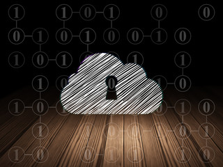 Cloud computing concept: Cloud With Keyhole in grunge dark room