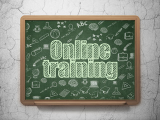 Education concept: Online Training on School Board background