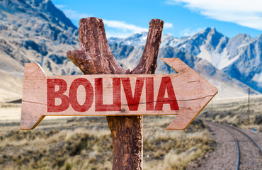 Bolivia wooden sign with Cordillera background