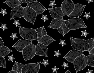 Floral vector seamless pattern with beautiful figured flowers