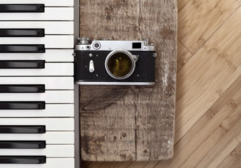 Artwork in retro style, old camera,  piano