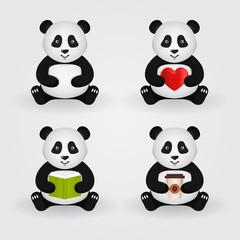 Cute cartoon pandas. Vector set.