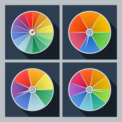 Set of four vector icons with color circles