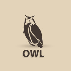 Vector stylized owl. Artistic creative design.