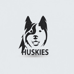 Stylized silhouette face huskies. Artistic creative logo.