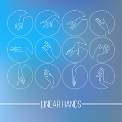 Set of vector icons of linear mapping graceful female hands