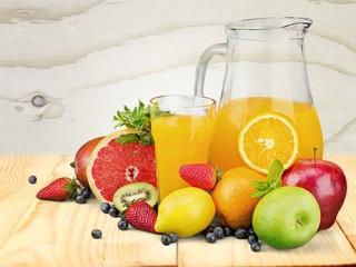 Breakfast. Breakfast with orange juice and fresh croissants