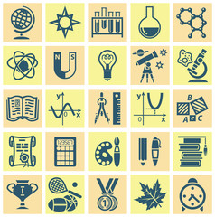 Set of web icons on a theme of schooling