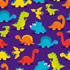 Cute Fun Dinosaurs Seamless Pattern Background