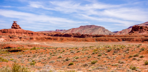 mexican hat rock monument landscape on sunny day