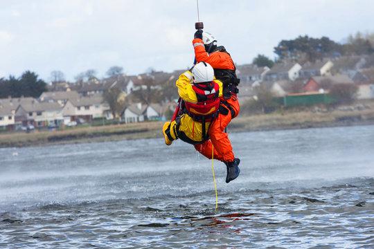 Coast Guard crew water rescue training