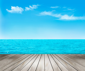 Nature background with a wooden deck, the sea and the sky. Vecto