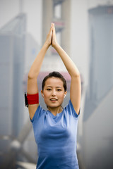 Portrait of woman exercising outdoors