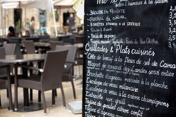 Paris restaurant with menu