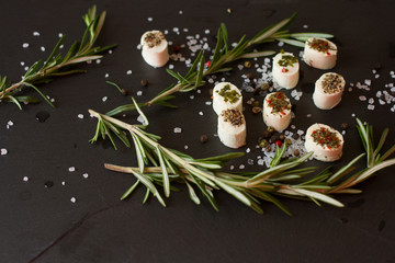 soft goat cheese with rosemary