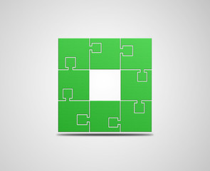 Green puzzle illustration