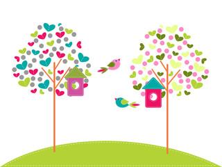 birdhouses on trees with birds