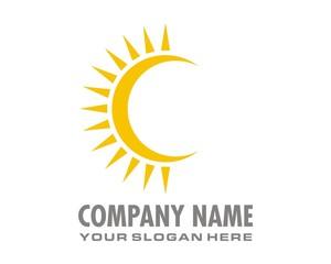 crescent sun logo image vector