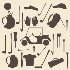 Golf sport items silhouette icon set.  Driver, wood, iron, wedge