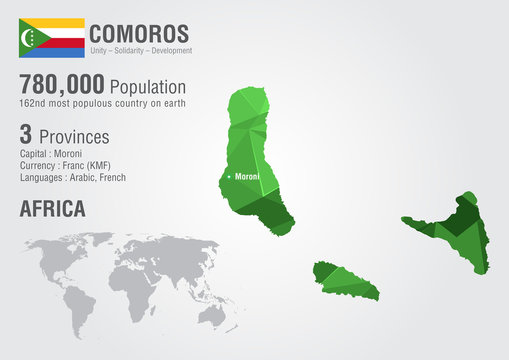 Comoros world map with a pixel diamond texture.