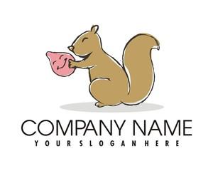 squirrel walnut logo image vector
