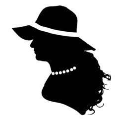 Vector silhouette of the face profile woman.
