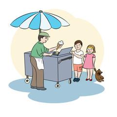 Illustration with ice cream man