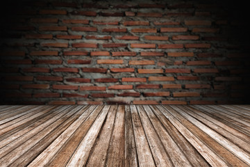 wooden floor and blurry wall