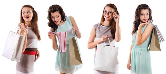smiling women holding shopping  bag