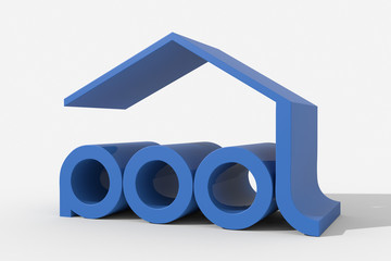 "Logo 3D ""pool"" con forma edificio"