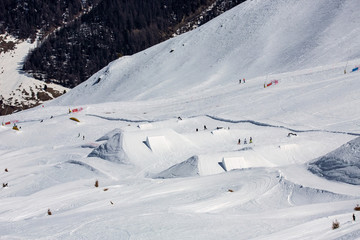 artificial snow park in Italian Alps