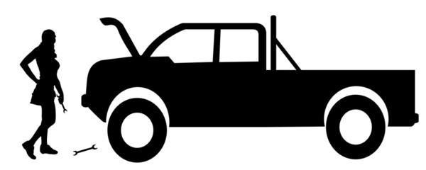 Vector silhouette car repairs.