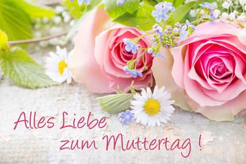 Muttertagskarte mit Blumen