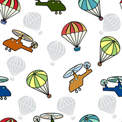 Seamless pattern with helicopters